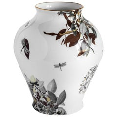 Dragon Pool, Contemporary Porcelain Vase with Decorative Design by Vito Nesta