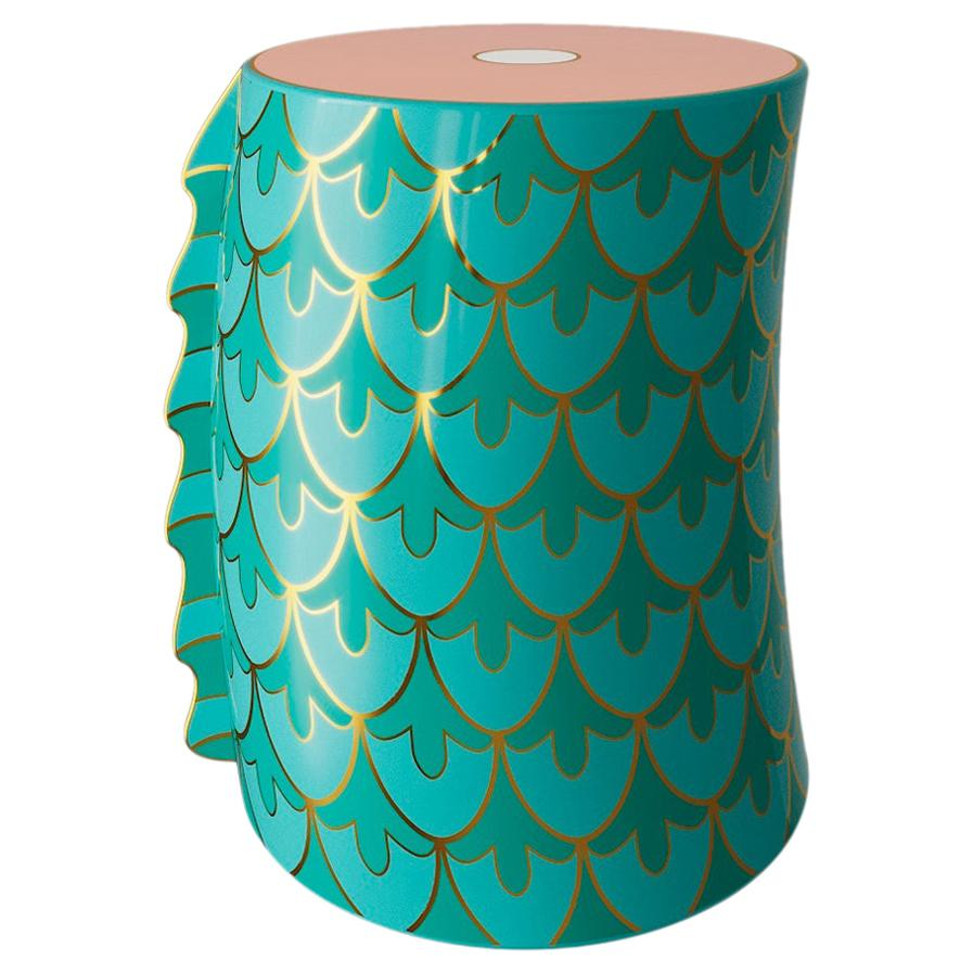 Dragon Slice Stool Side Table with Brass Inlay by Marcantonio