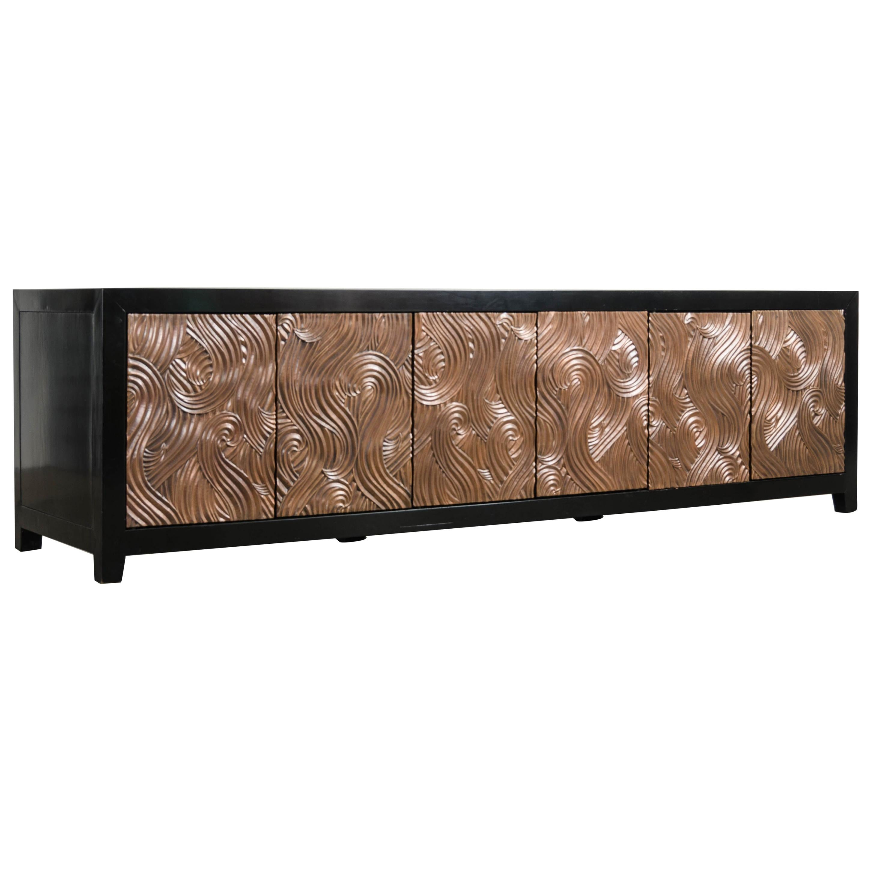 Dragon Swirl 6-Door Media Cabinet, by Robert Kuo, Hand Repousse, Limited Edition