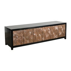 Dragon Swirl 6 Doors Media Cabinet by Robert Kuo, Hand Repousse, Limited Edition