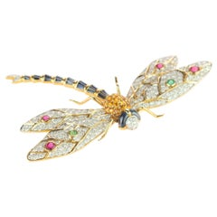 Dragonfly 18 Karat Gold Diamond Sapphire Ruby Emeralds Pin Intini Jewels Brooch