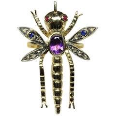 Dragonfly Amethyst Ruby Sapphire Rose Cut Diamonds 14 Karat Yellow Gold Ring