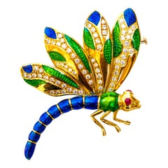 Dragonfly Brooch 1 Carat of Diamonds Enamel Rubies Made in Italy