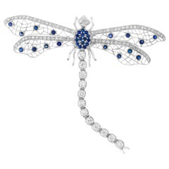 Dragonfly Brooch in 14 Karat White Gold with 3 Carat in Diamonds