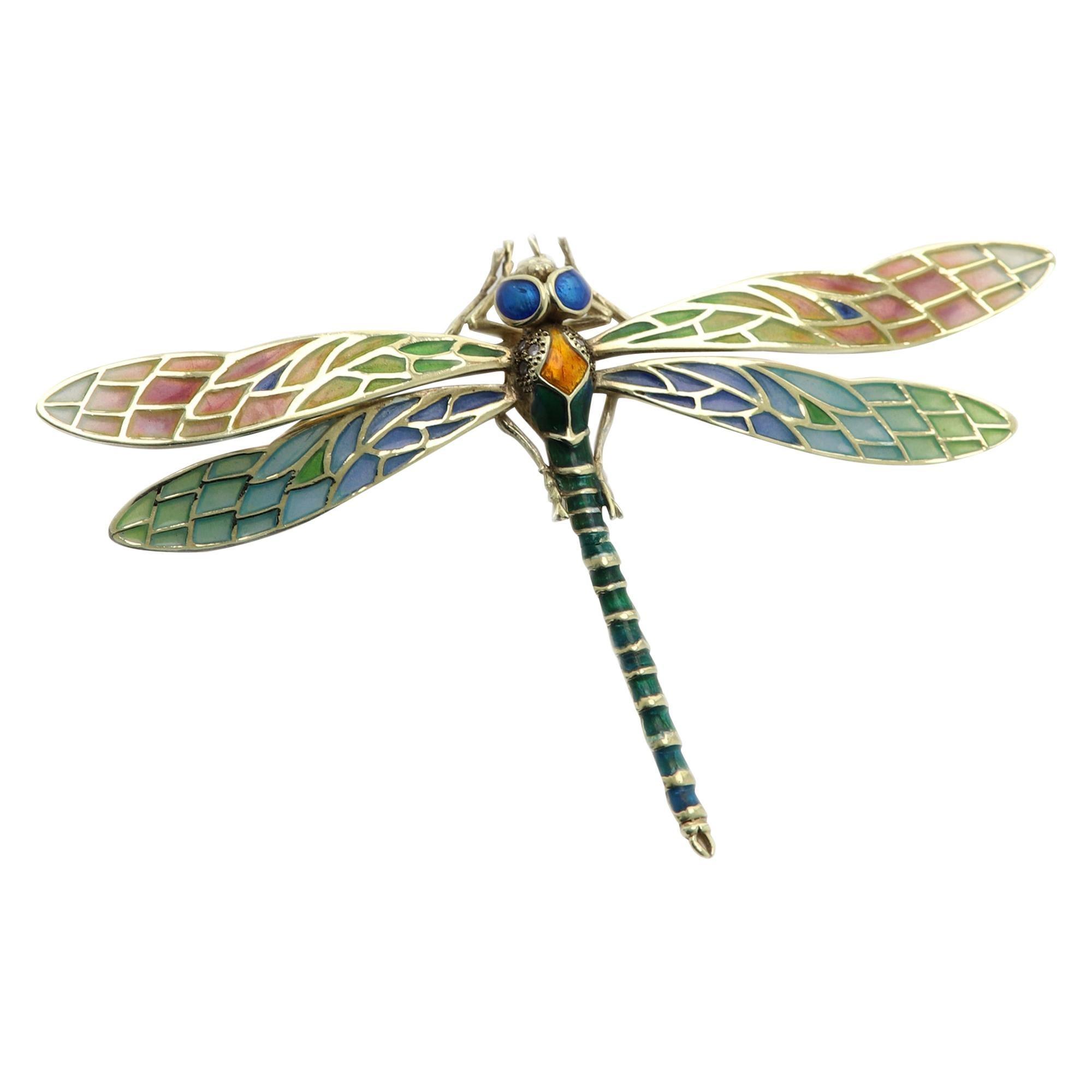 Dragonfly Brooch Pin Enamel 14 Karat Yellow Gold / Necklace Enamel Pin Brooch