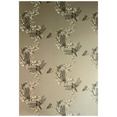 'Dragonfly' Contemporary, Traditional Wallpaper in Pewter