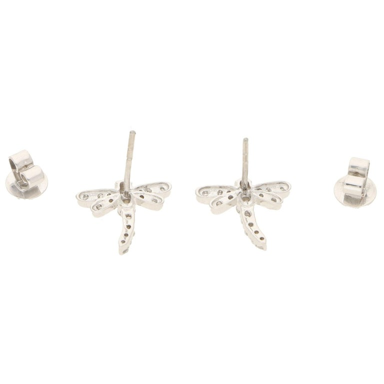 Contemporary Dragonfly Diamond Stud Earrings in White Gold For Sale