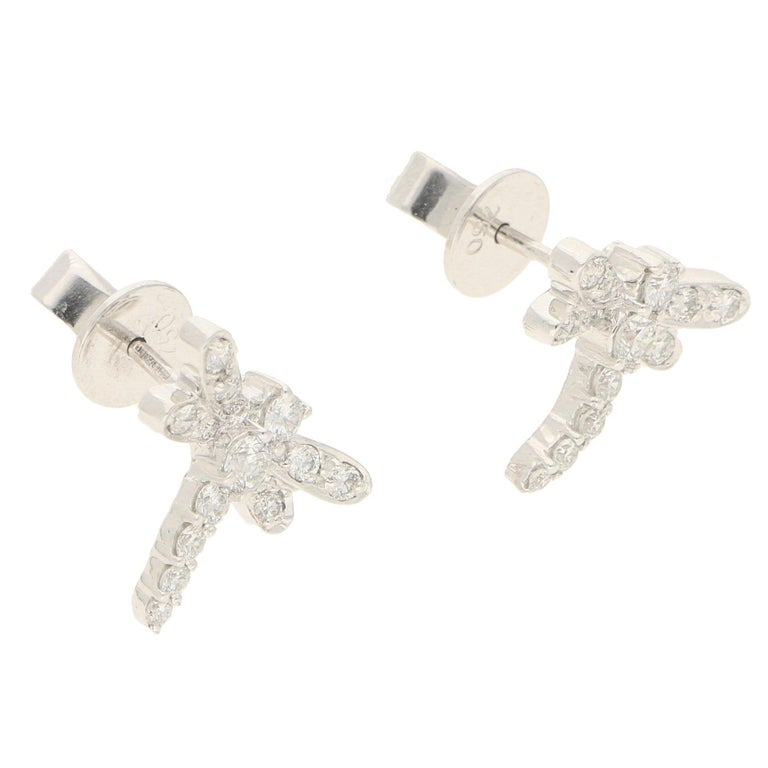 Dragonfly Diamond Stud Earrings in White Gold In New Condition For Sale In London, GB