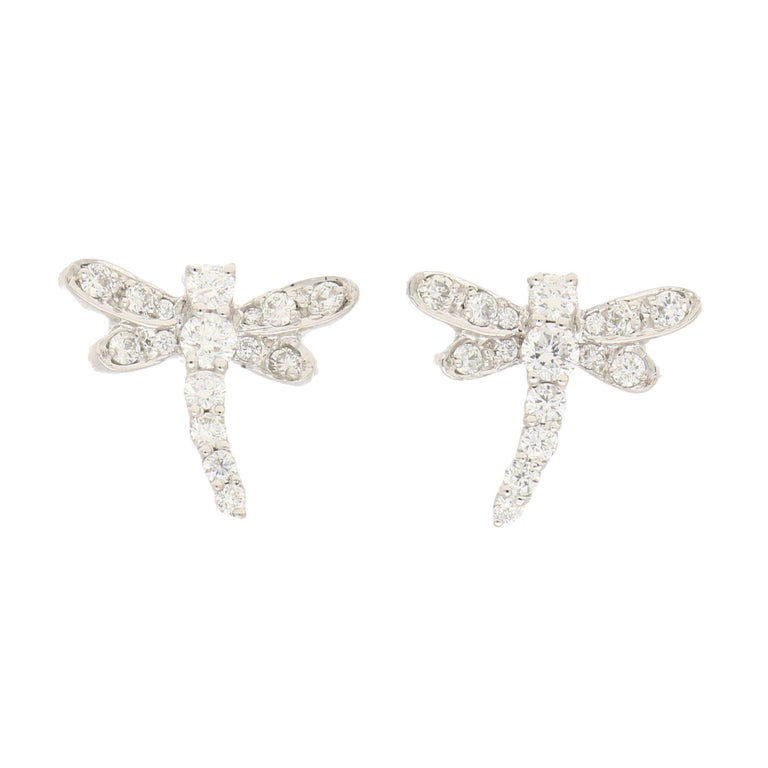 Dragonfly Diamond Stud Earrings in White Gold For Sale