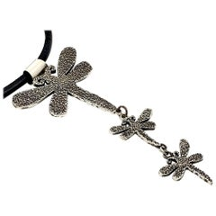 Dragonfly Drop Necklace, Melanie Yazzie cast silver drop pendant  Navajo