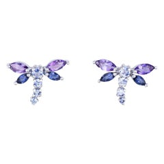 Dragonfly Earrings Amethyst Iolite Estate 14 Karat Gold Studs Insect Jewelry