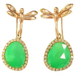 Dragonfly Earrings in Jade and 18 Karat Yellow Gold
