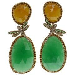 Dragonfly Earrings in Jade, Tsavorite and Diamond