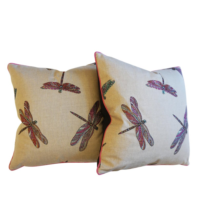 American Dragonfly Embroidered Throw Pillows For Sale