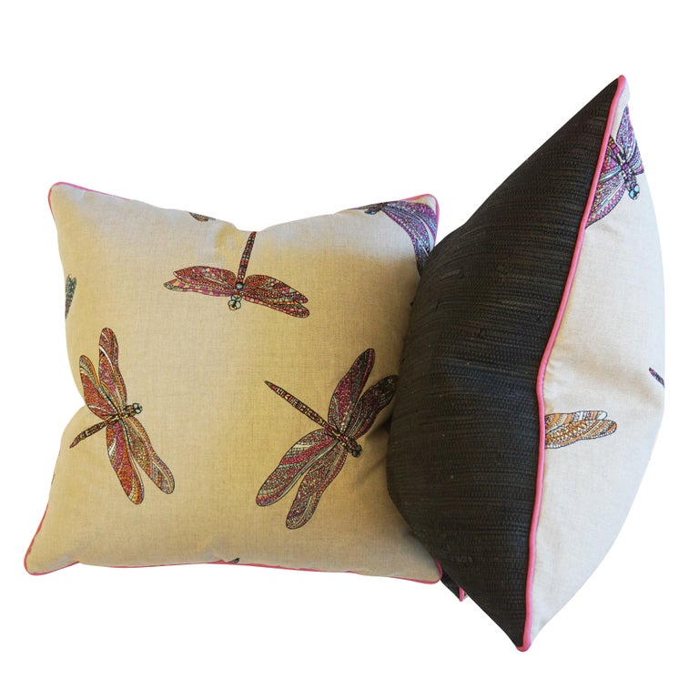 Dragonfly Embroidered Throw Pillows In Excellent Condition For Sale In Greenwich, CT