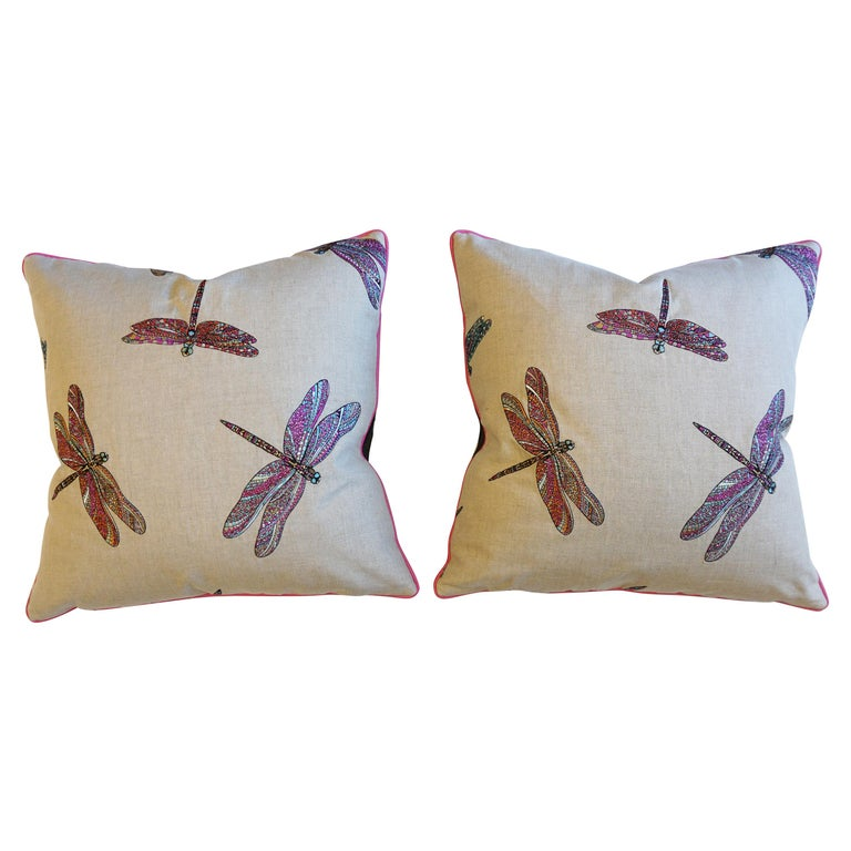 Dragonfly Embroidered Throw Pillows For Sale