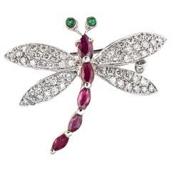 Dragonfly Gemstone Brooch Estate 18 Karat Gold Diamond Ruby Emerald Jewelry