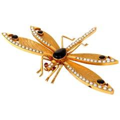 Dragonfly Important Art Deco 18 Karat Natural Pearls Blackstar Brooch Pin