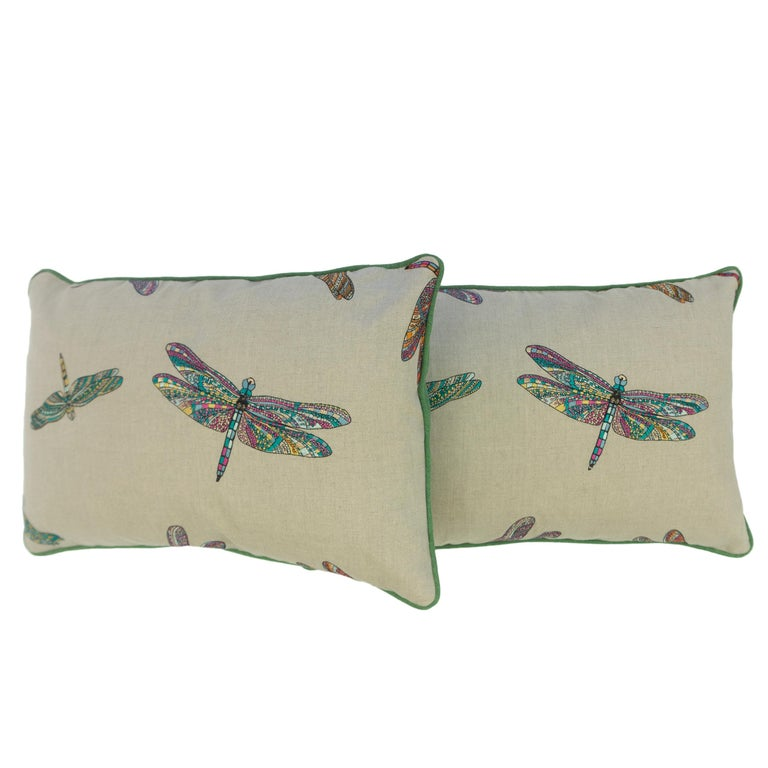 Embroidered Dragonfly Lumbar Pillows For Sale