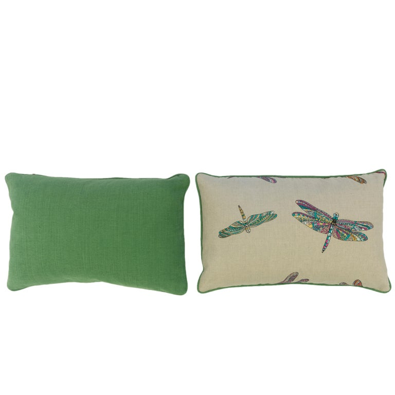Contemporary Dragonfly Lumbar Pillows For Sale