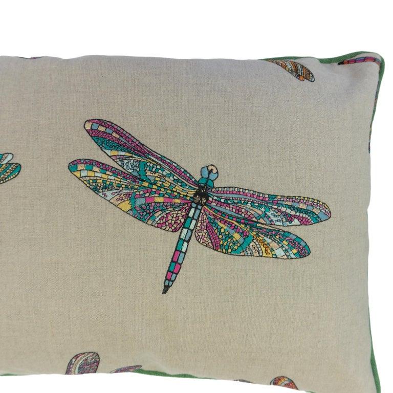 Linen Dragonfly Lumbar Pillows For Sale