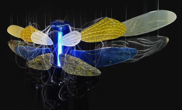 Art Deco Dragon Fly Murano Glass Handmade Art Installation Blue, Sliver, Gold, Color For Sale