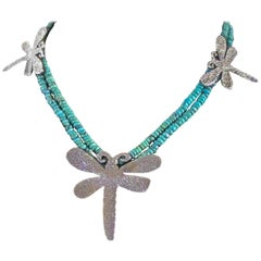 Dragonfly necklace, cast silver Kingman turquoise beads Melanie Yazzie Navajo