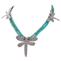 Dragonfly necklace, cast silver, Kingman turquoise beads, Navajo, artist design