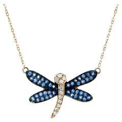 Dragonfly Necklace Sapphire Diamond 14 Karat Yellow Gold Estate Fine Jewelry
