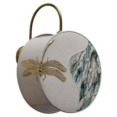 Dragonfly Pattern Sconce Lamps Handmade Velvet and Natural Brass, Marbled-Effect