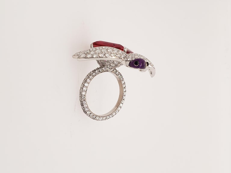 Contemporary Dragonfly Rubellite Tourmaline and Diamond Cocktail Ring For Sale