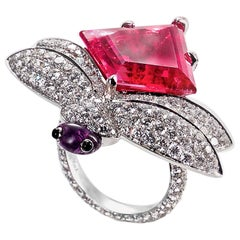Dragonfly Rubellite Tourmaline and Diamond Cocktail Ring