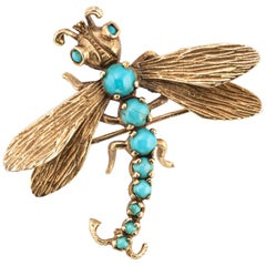 Dragonfly Turquoise Brooch Vintage 14 Karat Gold Estate Fine Jewelry Insect