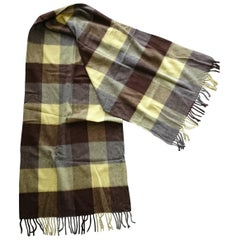 Drake's Chocolate-Tricolors Scottish Cashmere Scarf