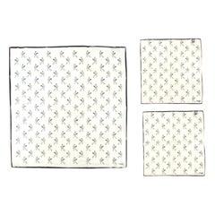 Drake's Tennis print scarf and pocket square set