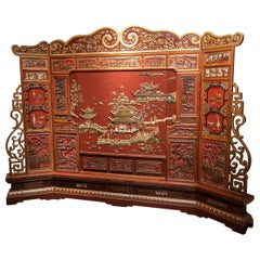 Dramatic and Large Antique Chinese Red Lacquer Screen