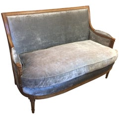 Dramatic Antique French Carved Wood and Velvet Neoclassical Loveseat Settee