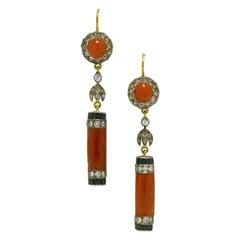 Dramatic Art Deco Coral Onyx Earrings Drop Dangle Diamond English Estate Jewelry
