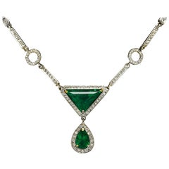 Dramatic Art Deco Emerald Diamond Drop Necklace 5 Carat Certified Appraisal