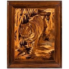 Dramatic Art Deco Period Intarsia Wood Panel of a Tiger