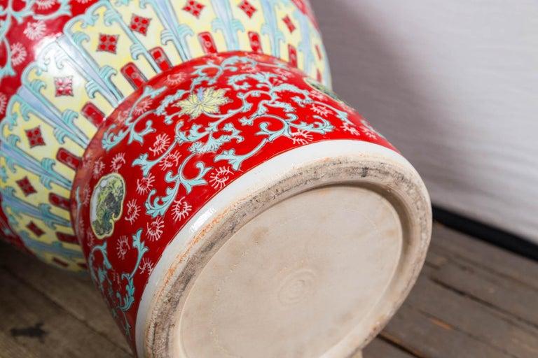 Dramatic Asian Porcelain Floor Vase For Sale 5