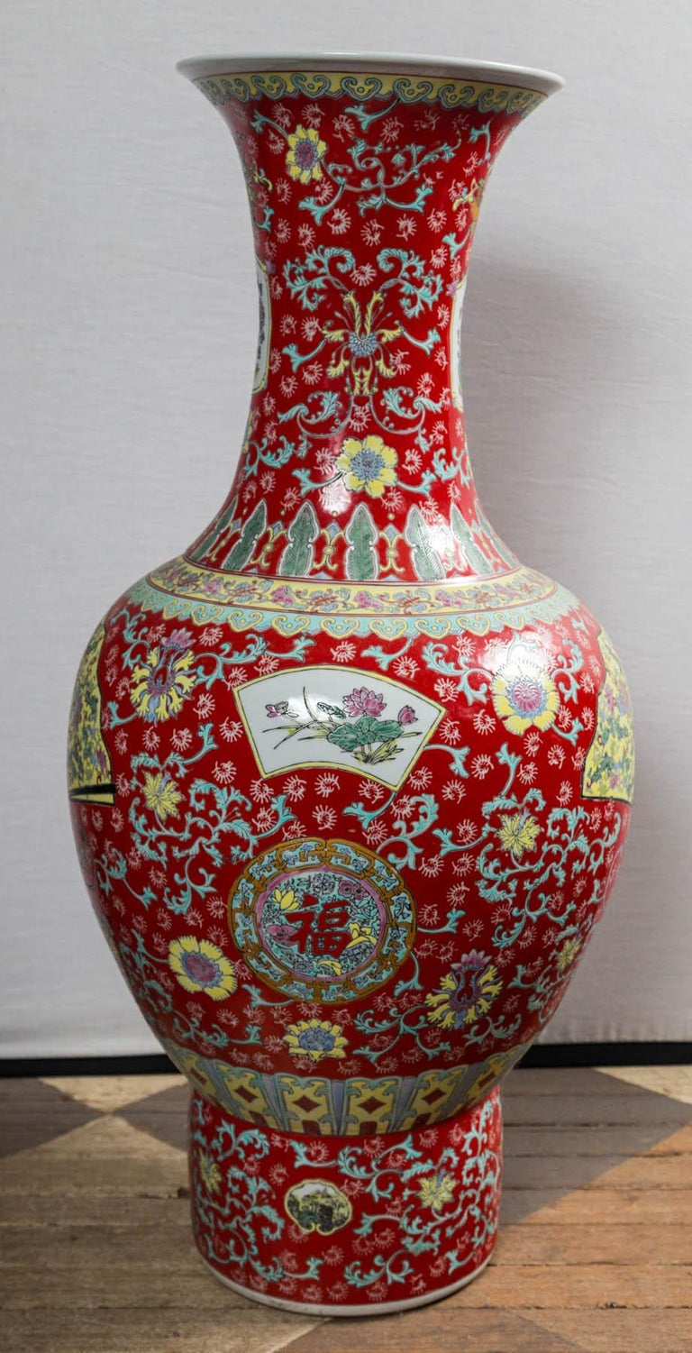 Hand-Painted Dramatic Asian Porcelain Floor Vase For Sale
