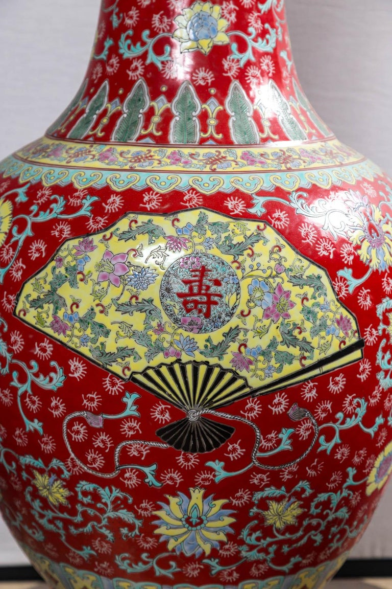 Contemporary Dramatic Asian Porcelain Floor Vase For Sale