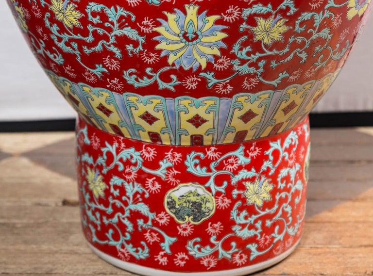 Dramatic Asian Porcelain Floor Vase For Sale 1