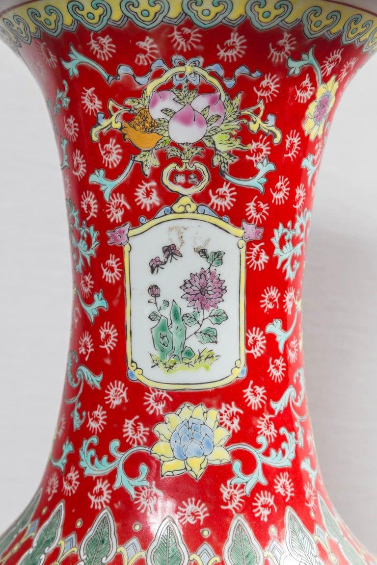 Dramatic Asian Porcelain Floor Vase For Sale 2