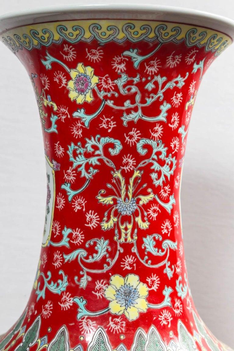 Dramatic Asian Porcelain Floor Vase For Sale 3