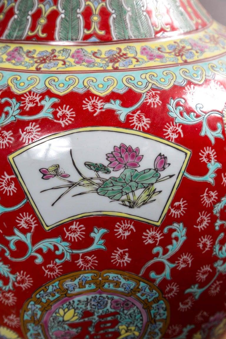 Dramatic Asian Porcelain Floor Vase For Sale 4