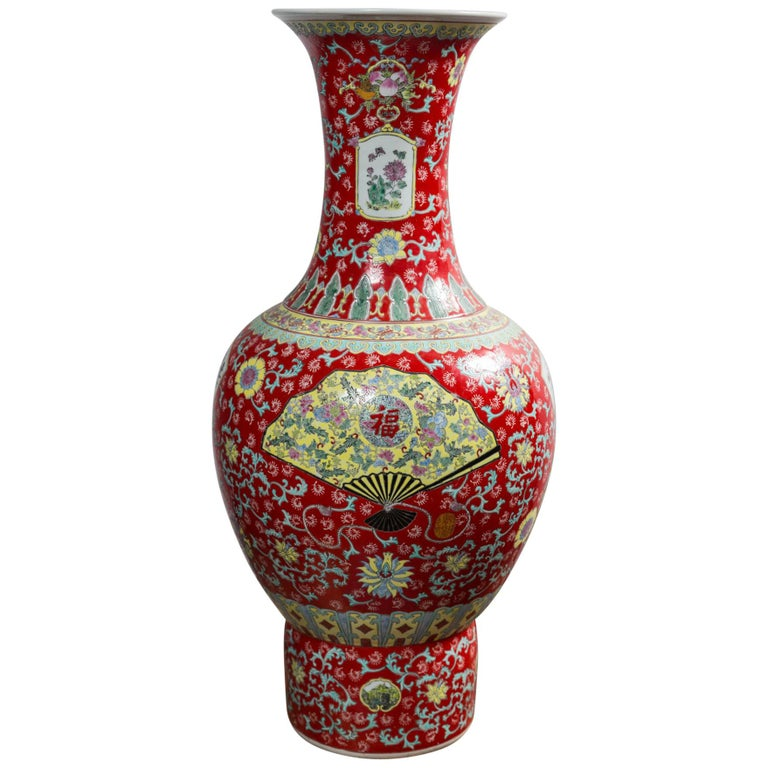 Dramatic Asian Porcelain Floor Vase For Sale