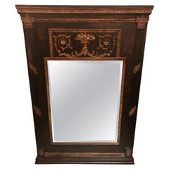 Dramatic Black & Gold Neoclassical Style Trumeau Mirror