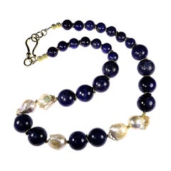 Dramatic Blue Lapis Lazuli and White Baroque Pearl Necklace